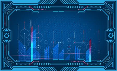 Grafisches Präsentations-Computerpanel, Monitor, Rahmen, Kontrollanzeige, Energietechnik. Illustration
