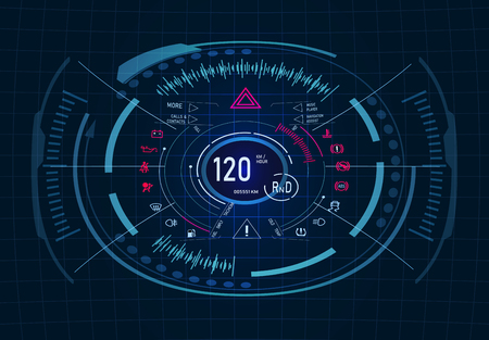 Car service. Futuristic dashboard design. Speedometer, tachometer. GUI. HUD illustration Stock Illustratie