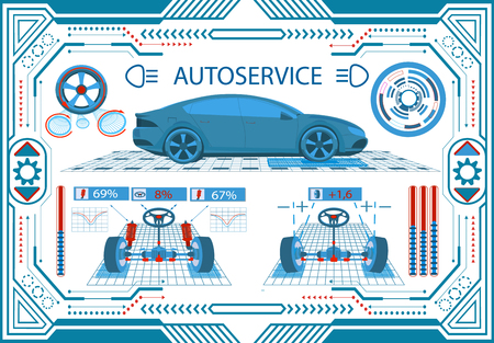 Car service. Interface in a frame on a white background. Diagnostic leveling wheels. Check springs. Parameters of the car. illustration Stock Photo