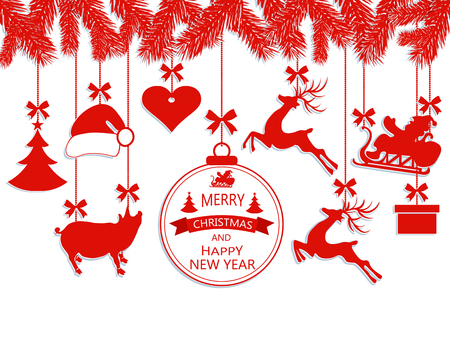 New Year Christmas. Various decorations hanging on fir branches, Santa Claus hat, deer, heart, gift, Pig and Christmas tree. Vector illustration
