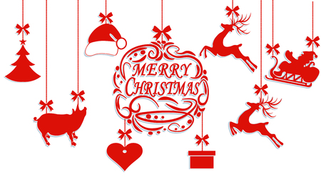 Merry Christmas. Santa Claus hat, deer, heart, gift, Pig and Christmas tree. Cut out of paper. Vector illustration