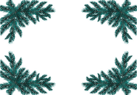 Four blue realistic fir branches. Placed in the corners. Isolated on white background. Christmas vector illustration