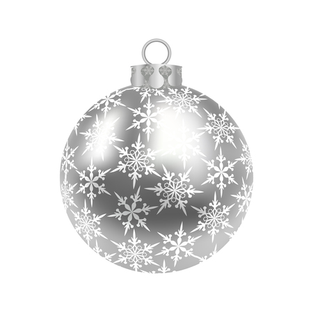 Christmas, New Years silver ball with a pattern of snowflakes. Vector illustration