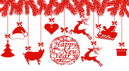 Happy New Year. Santa Claus hat, deer, heart, gift, Pig and Christmas tree. Cut out of paper. Vector illustration