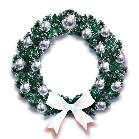 Christmas, New Year. Snowflakes. Dark Green branches of spruce in the form of a Christmas wreath with silver balls and white bows in the snow. Vector illustration Çizim