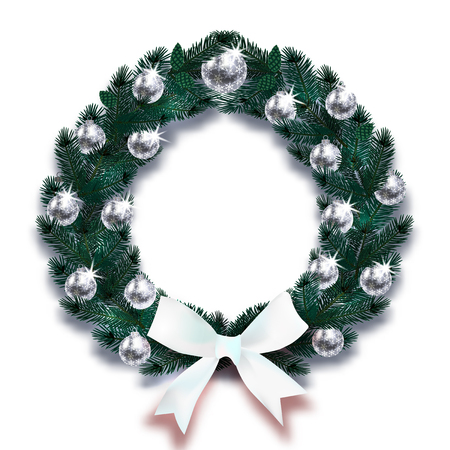 Christmas, New Year. Dark Green branches of spruce in the form of a Christmas wreath with silver balls and white bow. illustration Stock Photo