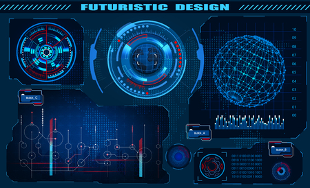 Futuristic graphic interface hud design, infographic elements, hologram of the globe. Theme and science, the theme of analysis. Vector illustration