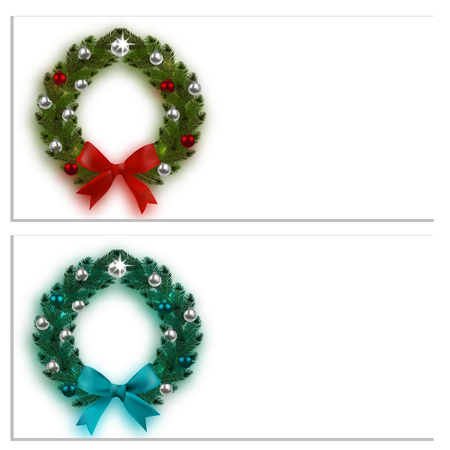 Christmas, New Year. Business cards, cards, invitations. Green and blue spruce branches in the form of two Christmas wreaths with balls and bows. On a white background. Vector illustration Illustration