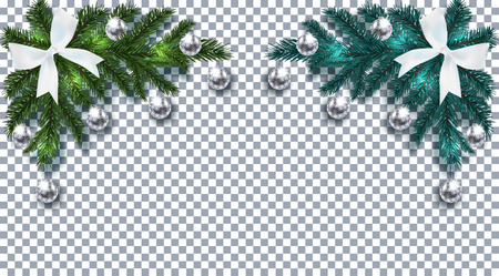 New Year. Christmas. Green and blue Christmas tree branch with toys with shadow. Corner drawing. White bow, silver balls with a pattern on a checkered background. Vector illustration