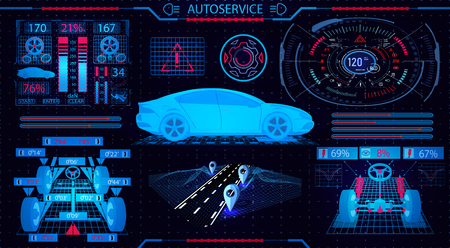 Car service. GUI. Diagnostic alignment wheels. Fragment of the road. Check shock absorbers, brake system and dashboard. Vector illustration
