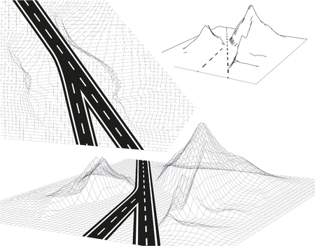 Road, highway in 3D. View from above and in Perspective. Highway design. Skeletal Framed Landscape. Vector illustration