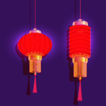 Chinese New Year. Two red chinese lantern. Isolated vector illustration