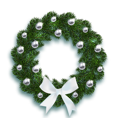 Christmas, New Year. Blue fir branches in the shape of a Christmas wreath with balls and a white bow. On a white background with a shadow. Vector illustration