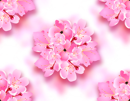 Decorative flowers of sakura, Cherry Blossoms bouquet with shadow. Seamless. Can be used for cards, invitations, posters. Vector illustration Çizim