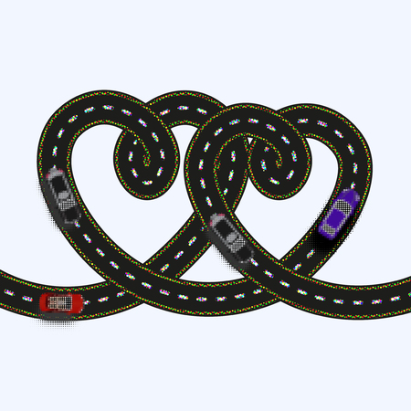 Postcards for Valentines Day. Stylized as an old printer. Two hearts in the form of a road on a white background isolated. Vector illustration