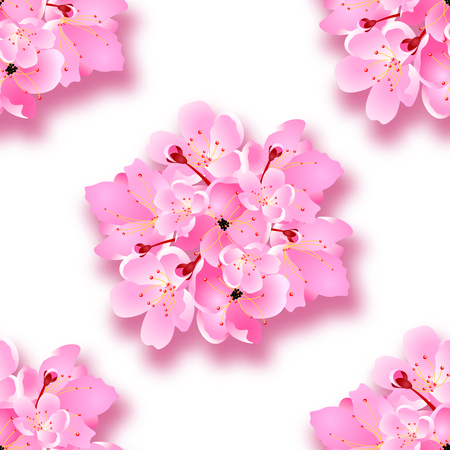 Decorative sakura flowers, bouquet, design elements with shadow. Seamless. Can be used for cards, invitations, posters. Vector illustration