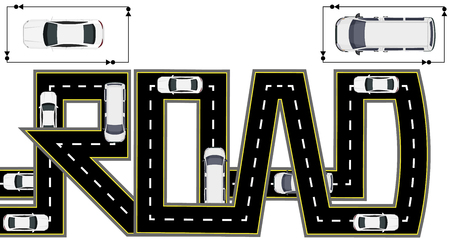 Road. Highway stylized inscription. Trucks and cars. Isolated Vector illustration