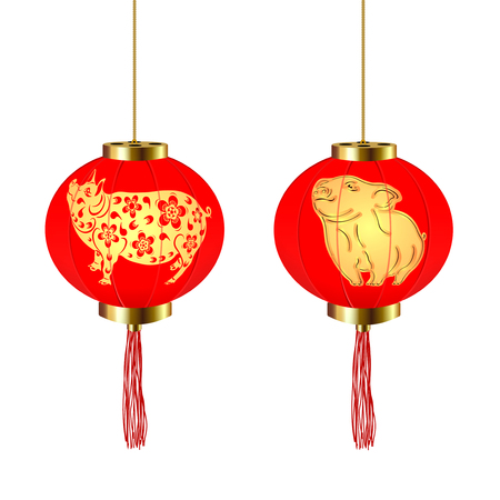 Chinese New Year. Two red round Chinese lanterns with a pig and piglet pattern. Vector illustration