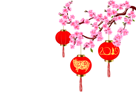 Chinese New Year. Sakura and red lanterns with pictures of a pig. Cherry flowers with buds and leaves on the branch. Vector illustration Çizim