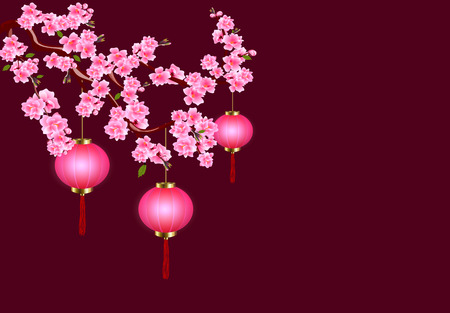 Chinese New Year. Sakura and purple lanterns. Cherry flowers with buds and leaves on the branch. Dark background. Vector illustration