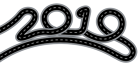 2019 New Year. The road is stylized signature. Isolated on white background. Vector illustration
