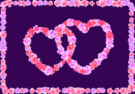 Valentine s Day. Two Heart of pink flowers Sakura, Cherry Blossom on a dark background in a frame of flowers. Vector illustration