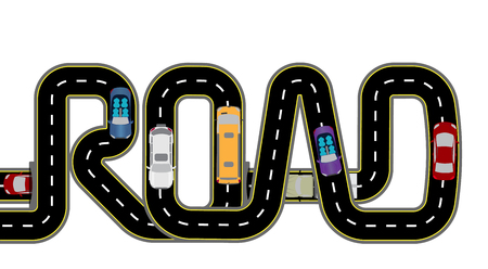 Road, cars. Highway stylized inscription - the road. Isolated Vector Illustration