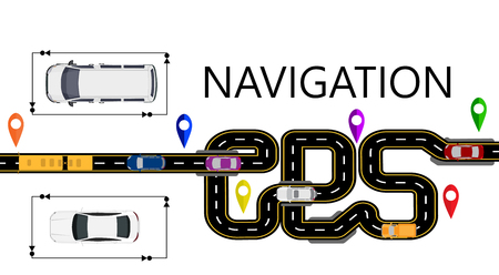 Road, cars, navigator mark. The highway is stylized under the inscription GPS-navigator. Isolated Illustration Stock Photo