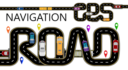 Roads, cars, navigator tags. The highway is stylized under the inscription GPS-navigator and road. Isolated Illustration