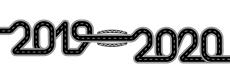 2019-2020. Symbolizes the transition to the New Year. The road with markings is stylized as an inscription. Isolated Vector illustration