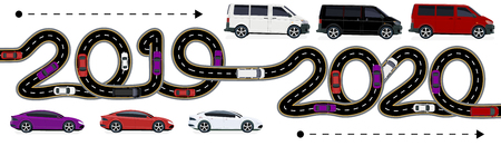 2019-2020. Symbolizes the transition to the new year. The movement of cars is shown. The road with markings stylized inscription. Vector illustration