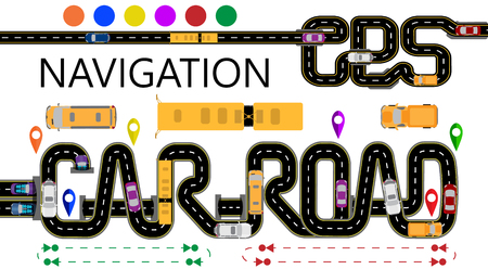 Roads, cars, navigator tags. The highway is stylized under the inscription GPS-navigator and car road. Direction of travel. Isolated Vector Illustration Çizim