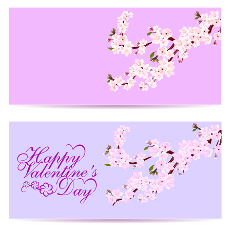 Valentine s Day. Sakura - two business cards. Decorative flowers of cherry with buds on the branches. Can be used for invitations, banners, posters. illustration