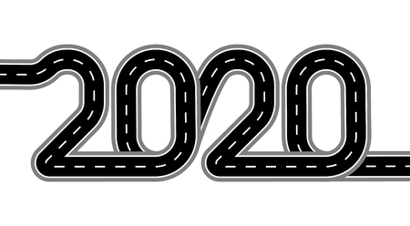 2020 New Year. The road is stylized as an inscription. Isolated On White Background. Illustration