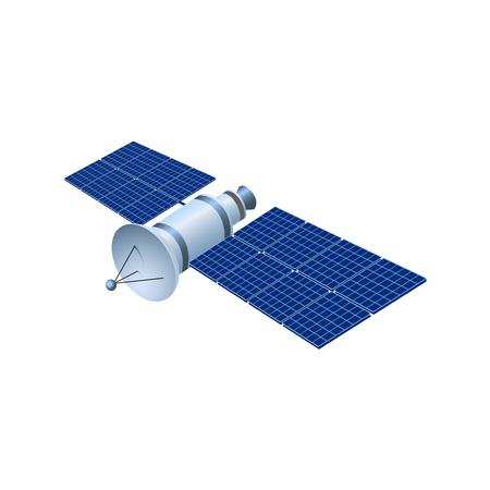 Realistic 3d satellite. Wireless satellite technology GPS. illustration