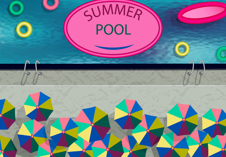 Stylized as a photo from the drone. Summer Pool, umbrellas, swimming circles. illustration