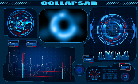 Futuristic graphic interface Black hole, total eclipse, hud design, infographic elements. Theme and science, the theme of analysis. illustration