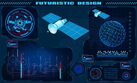 Futuristic graphical interface, satellite control, hud design, hologram of the globe. illustration