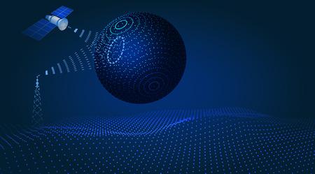 Communication, navigation, satellite control, hud design, hologram of the globe. illustration