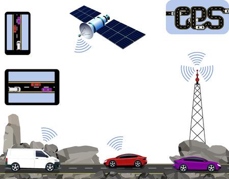 GPS Navigation. Road, highways along the rocks, cars, satellite, navigators, tower. Travelling by car. illustration