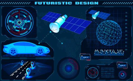 Futuristic graphic interface, satellite car GPS navigation, hud design, globe hologram. illustration