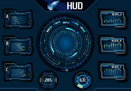 Satellite HUD UI Infographic Elements. Technology Graphic Interface - Illustration  illustration