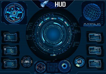 HUD satellite UI. Navigator, Camera. Infographic elements Technology -  Illustration
