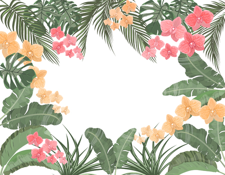 Tropical leaves of banana, coconut, monstera and ogawa, pink orchid in pastel colors. Place for advertising, advertising.  illustration