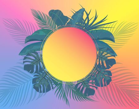 The leaves of tropical palm trees in pastel colors. Monstera, agave, banana. Place for advertising, announcements. Vector illustration Çizim