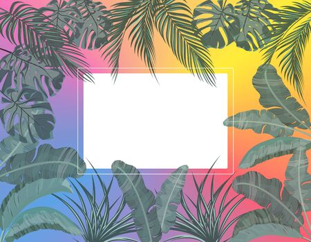 The leaves of tropical palm trees in pastel colors in a circle. Monstera, agave, banana. Place for advertising, announcements. illustration