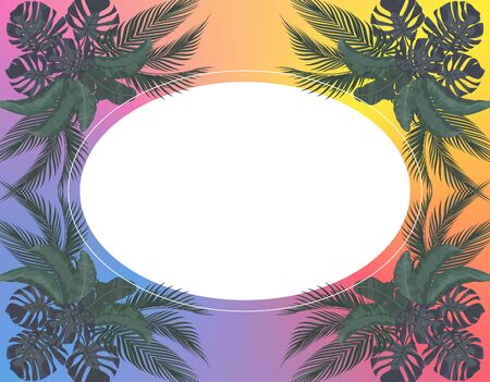 Green Leaves of tropical palm trees symmetrically in pastel colors. Place for advertising. Monstera, agave, banana. illustration