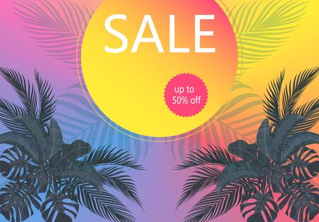 Flyer on sale. Leaves of tropical palm trees in pastel colors. Monstera, agave, banana. illustration