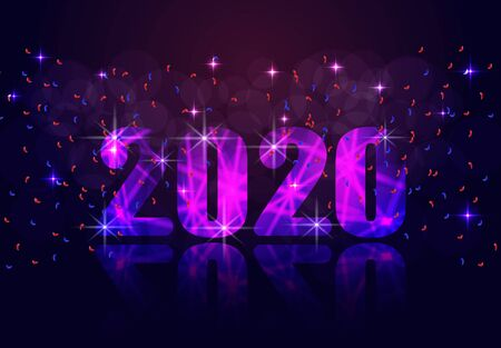 2020 New Year. Brilliant inscription in violet tones and its reflection. illustration