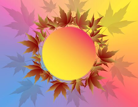 Pattern of maple leaves in pastel colors. Place for advertising, announcements. illustration Stockfoto
